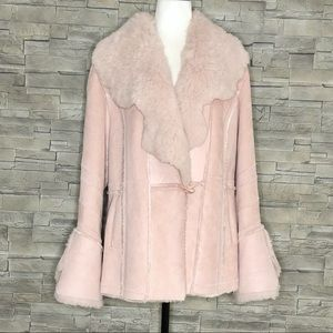 Blush pink faux-suede faux-fur jacket